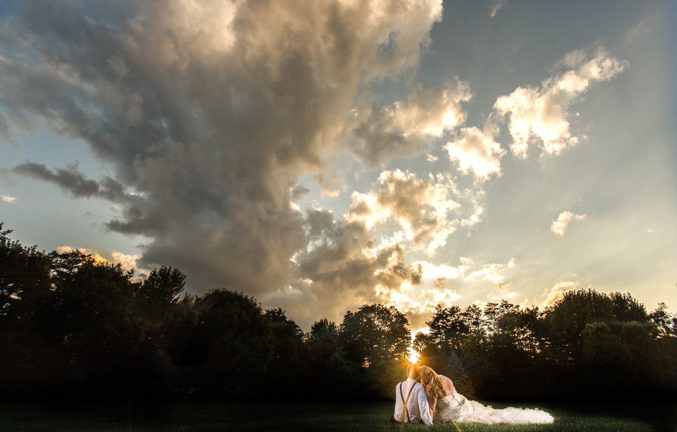 Bride and Groom in the sunset
